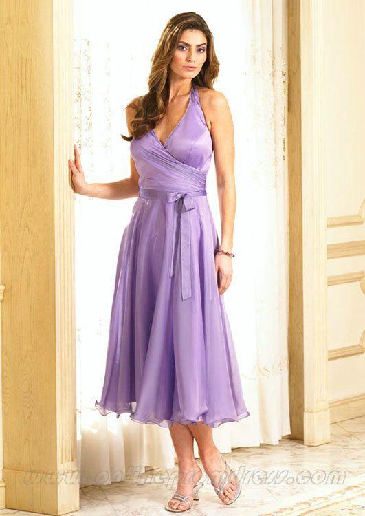 halter v neck tea length lilac bridesmaid dress online | Wedding ...