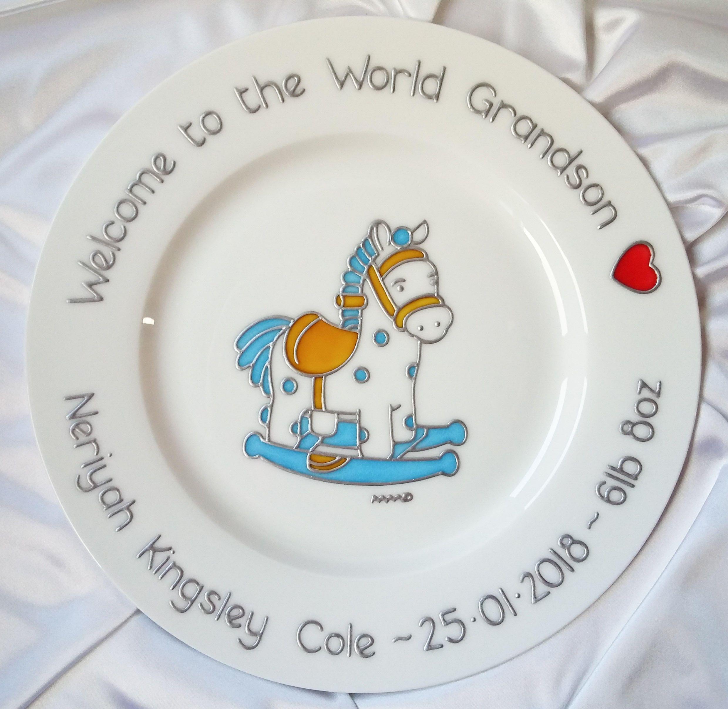 c5eddf35c Spotty Blue Rocking Horse Keepsake Blue   Pink Bespoke Baby Boy ...