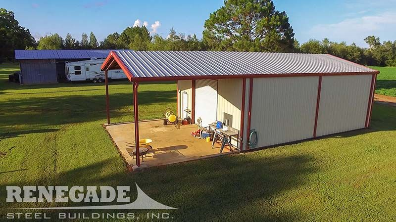 Backyard Work Shop Steel Building With Porch Area Open Bay
