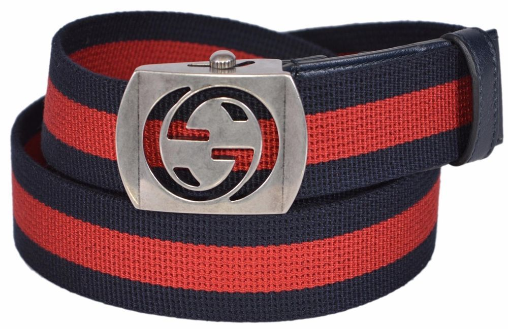 f1a04c673 New Gucci Men's 387032 Blue Red Web Cut Out Palladium GG Buckle Belt #Gucci  #FashionBelt