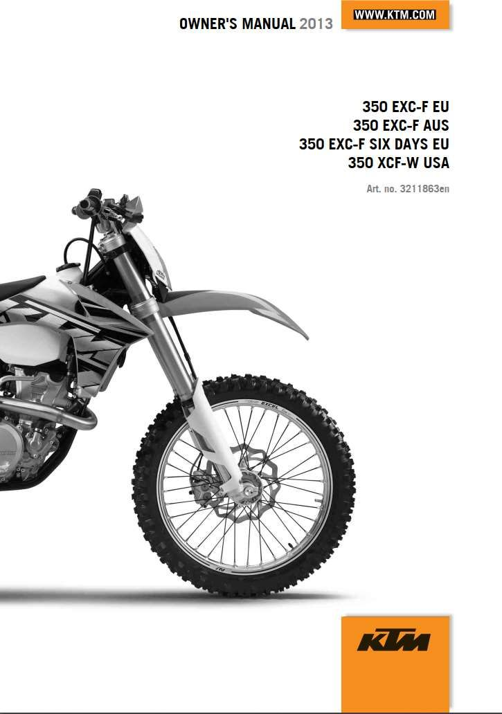 KTM 350 EXC 2013 Owner's Manual Pdf Online Download