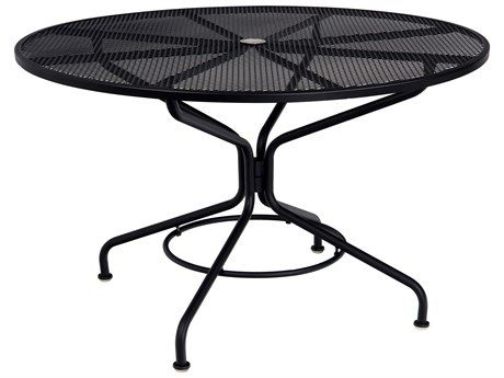 Woodard Quick Ship Mesh Wrought Iron 48 Round Table With