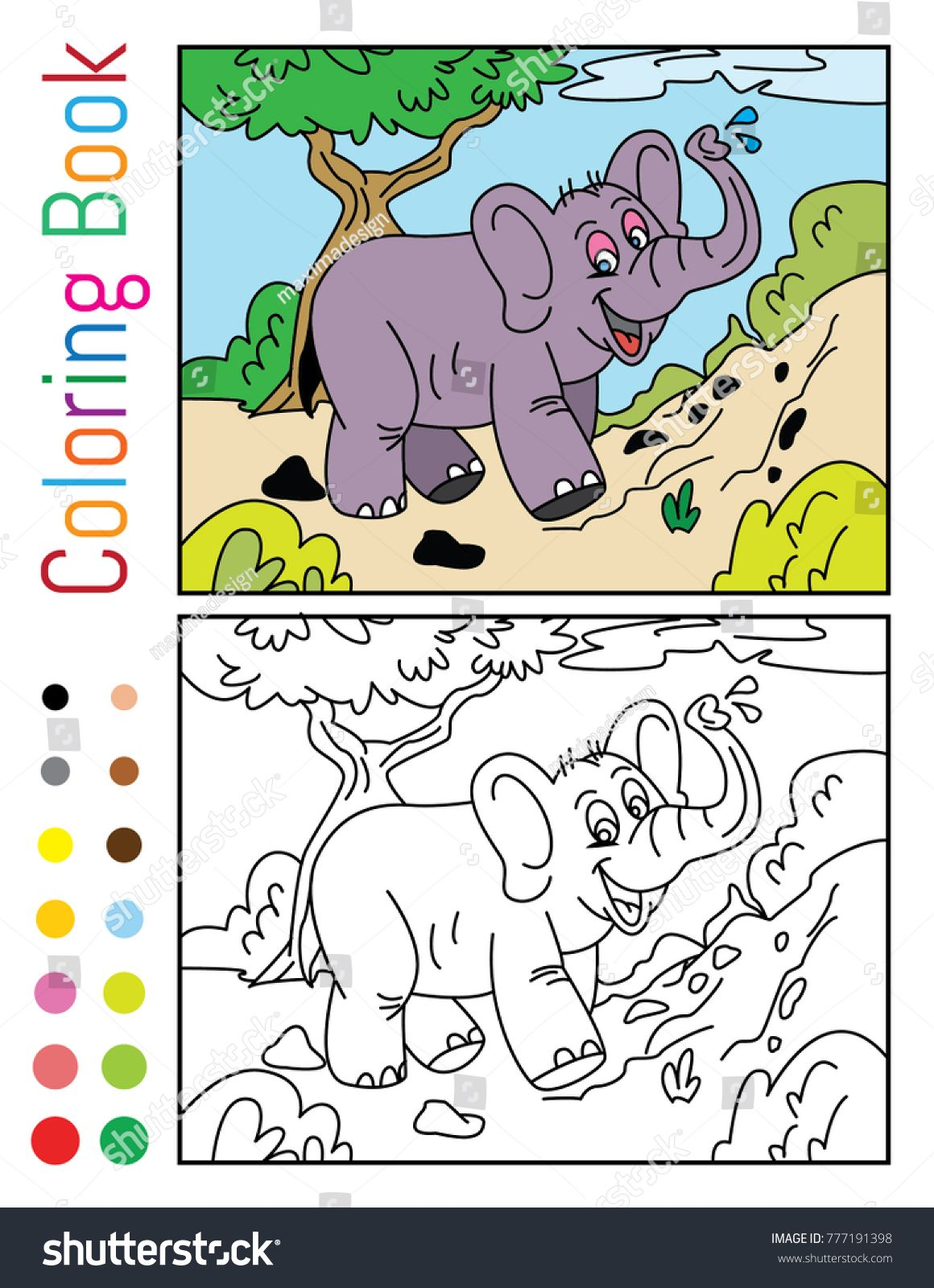 Cute Elephant Coloring Book Vector Illustration