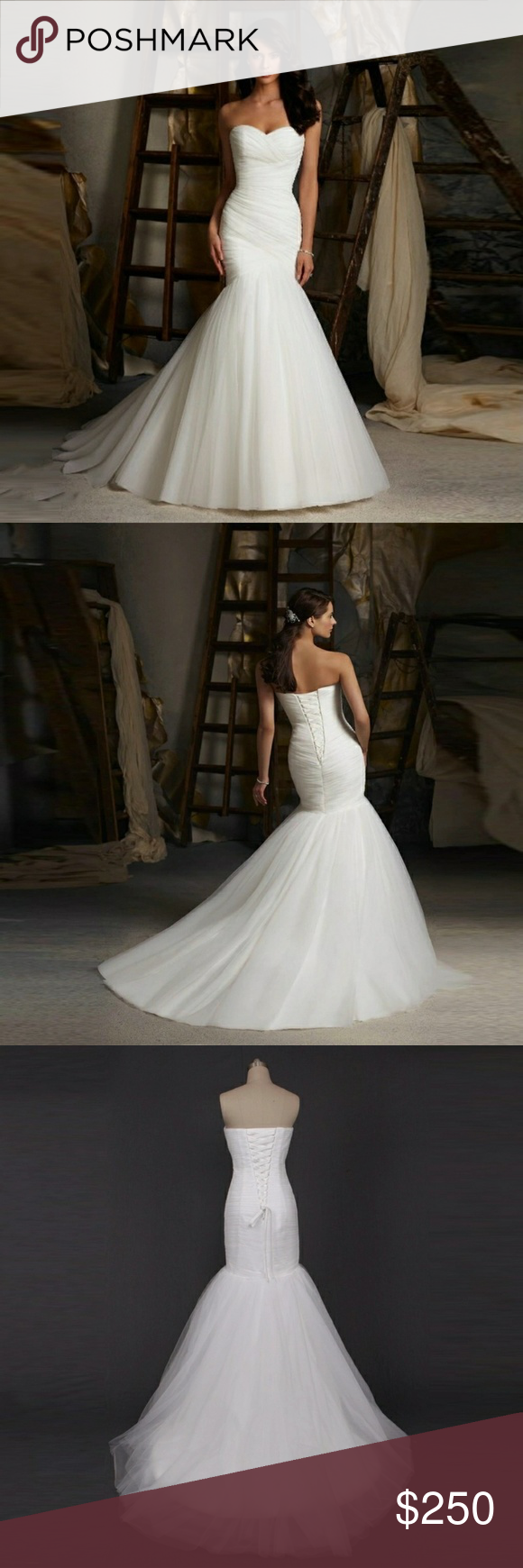 Trumpet Mermiad Bridal Gown Wedding Dress Stunning and elegant trumpet skirt bridal gown Available in sizes 2-16 PLEASE see size chart in the photos and measure with cm to get the correct size. If bust a hips say you're an 8 but waist says you're a 10 get the 10.  Available in White or ivory I own my own bridal boutique and these gowns are my house brand. Takes 7-10 days for me to get the gown with my shop order and ship to you.  This gown sells for $499 in my shop. Dresses Wedding