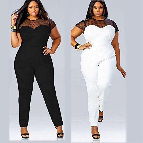 fc79ff9b974 Fashion Bug Women Plus Size Perspective Clubwear Bodycon Long Jumpsuit  Rompers www.fashionbug.us  PlusSize  FashionBug  Jumpsuits