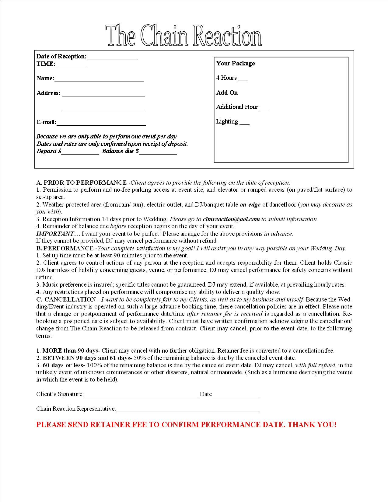 Contract for Entertainment – Dj Contract