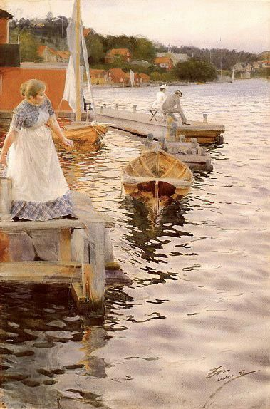 Anders Zorn (Swedish, Impressionism, 1860–1920): Lappings of the waves (Vågskvalp), 1887. Watercolor on paper, 167.6 x 254 cm. Private Collection.