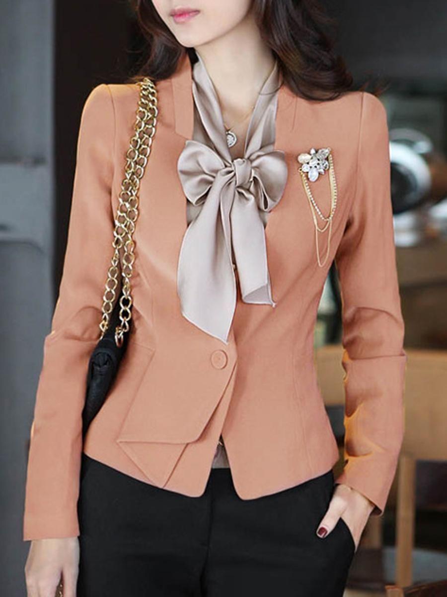 AdoreWe #BerryLook #berrylook Fold Over Collar Plain Coat