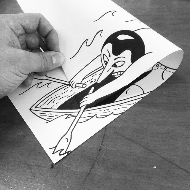 Simple Paper Folds Create Fantastic Illusions Of Drawings Brought