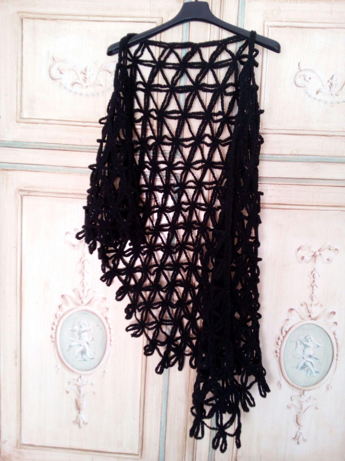 prezzi scegli autentico vasta gamma di scialle lana uncinetto colore nero - copri spalle lana ...