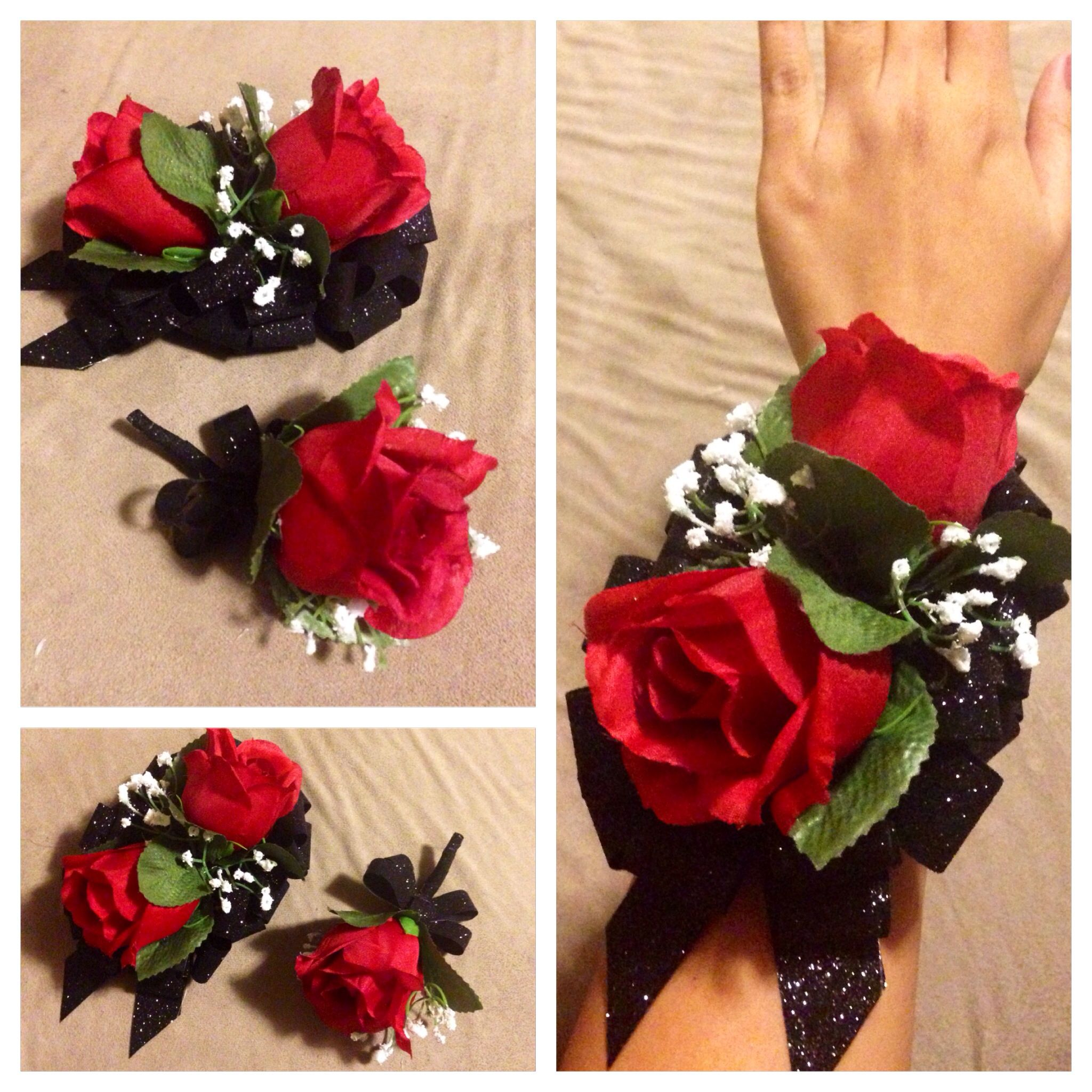 Diy Promformal Artificial Corsage And Boutonnire Set Red Roses
