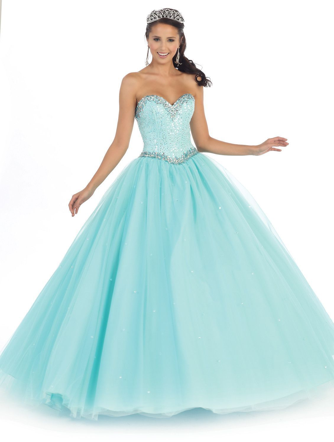This beautiful quinceanera prom floor length dress comes with beaded ...