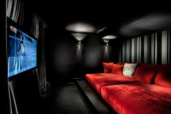 home theater ideas black and red color combination home decor
