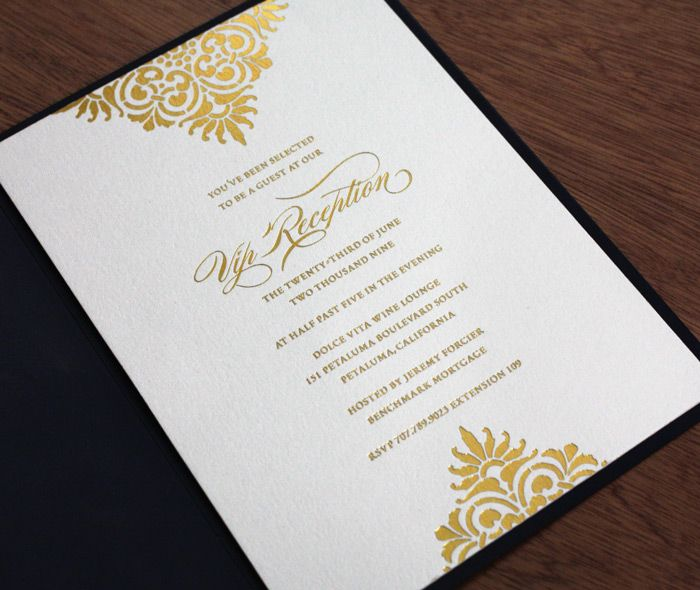 Wedding Invitations Business: Formal Elegant Vip Reception Business Invitation Mounted