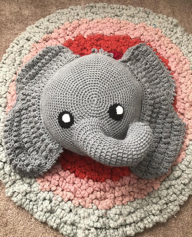 Elephant Pillow Crochet Pattern | Crochet elephant pattern ... | 1332x1080