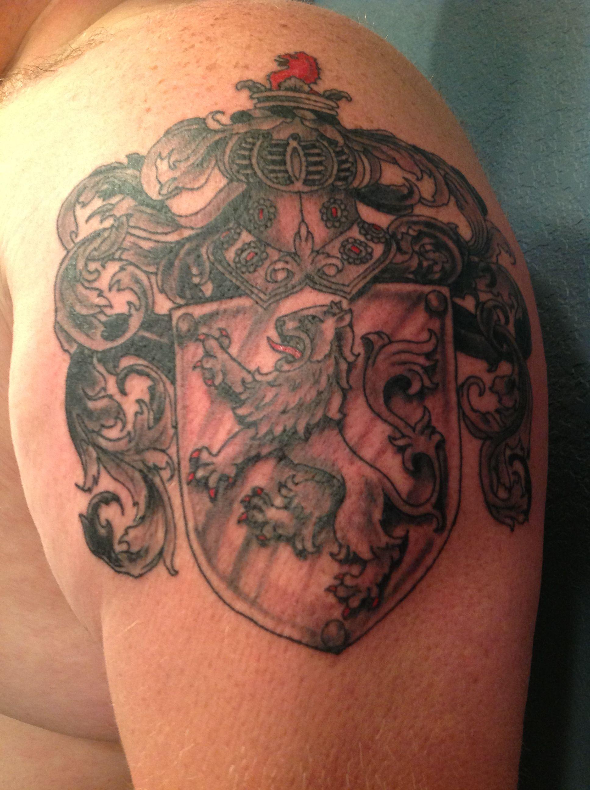 New tattoo. Long Irish family crest. Crest tattoo