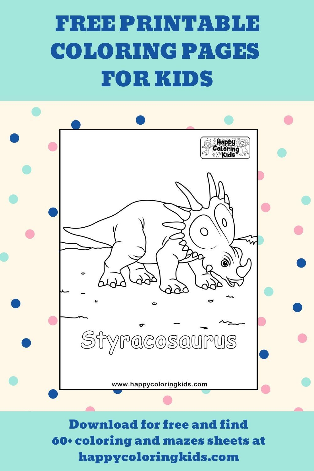Free Printable Coloring Pages Of Dinosaurs Styracosaurus Coloring Pages For Kids Coloring Pages Printable Coloring Pages