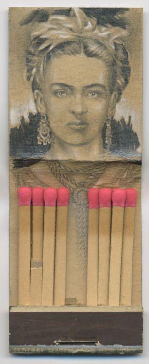 ldiggity:  frida. (graphite matchbook drawing) jason d'aquino on view now @ the last rites gallery