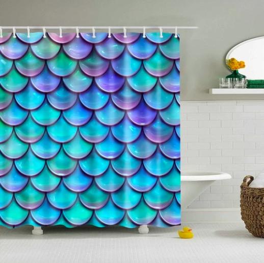 Mermaid Scales Pattern Fabric Shower Curtain Mermaid Shower