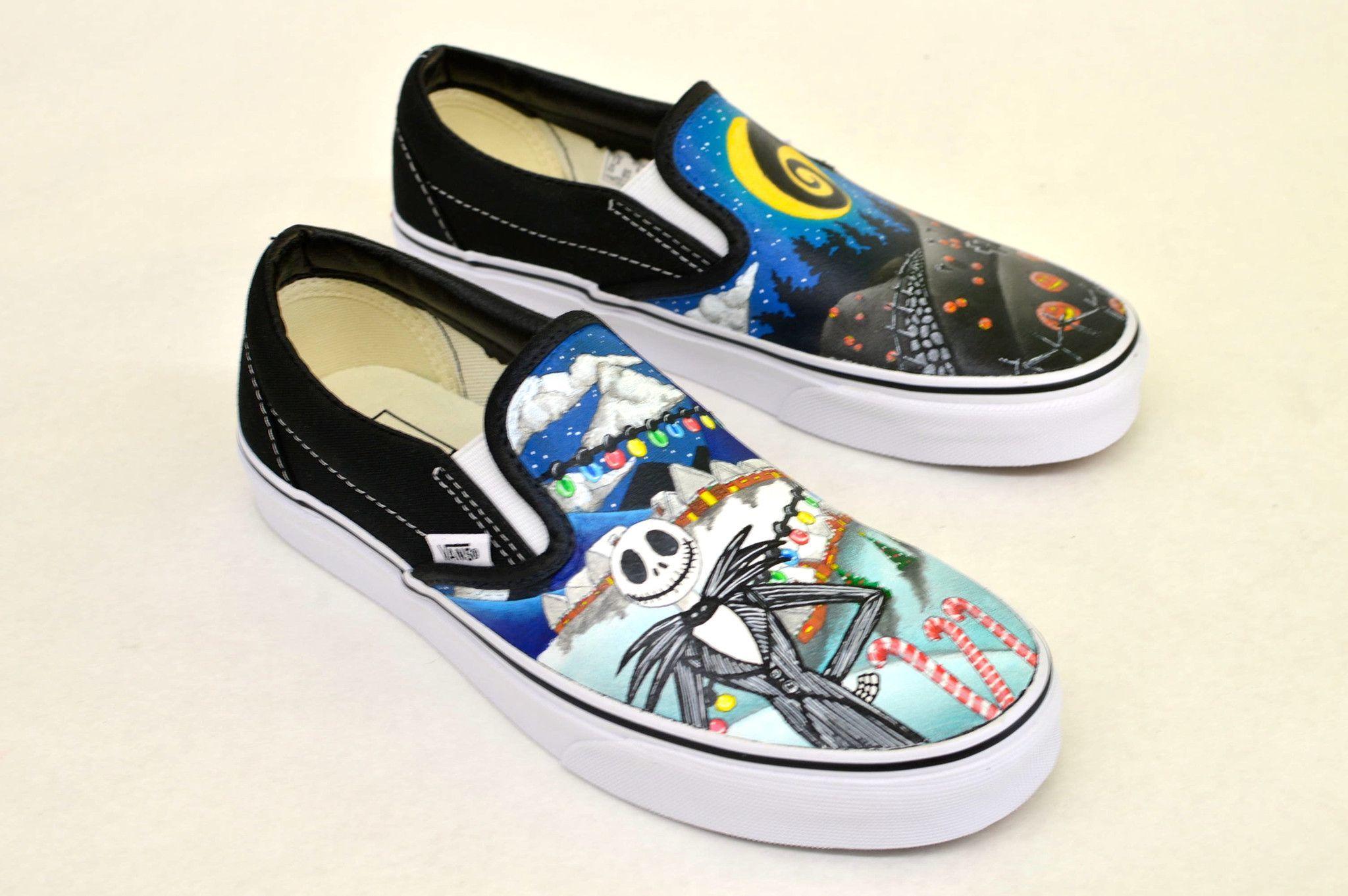 Custom Hand Painted Nightmare Before Christmas Tim Burton Vans Slip ...