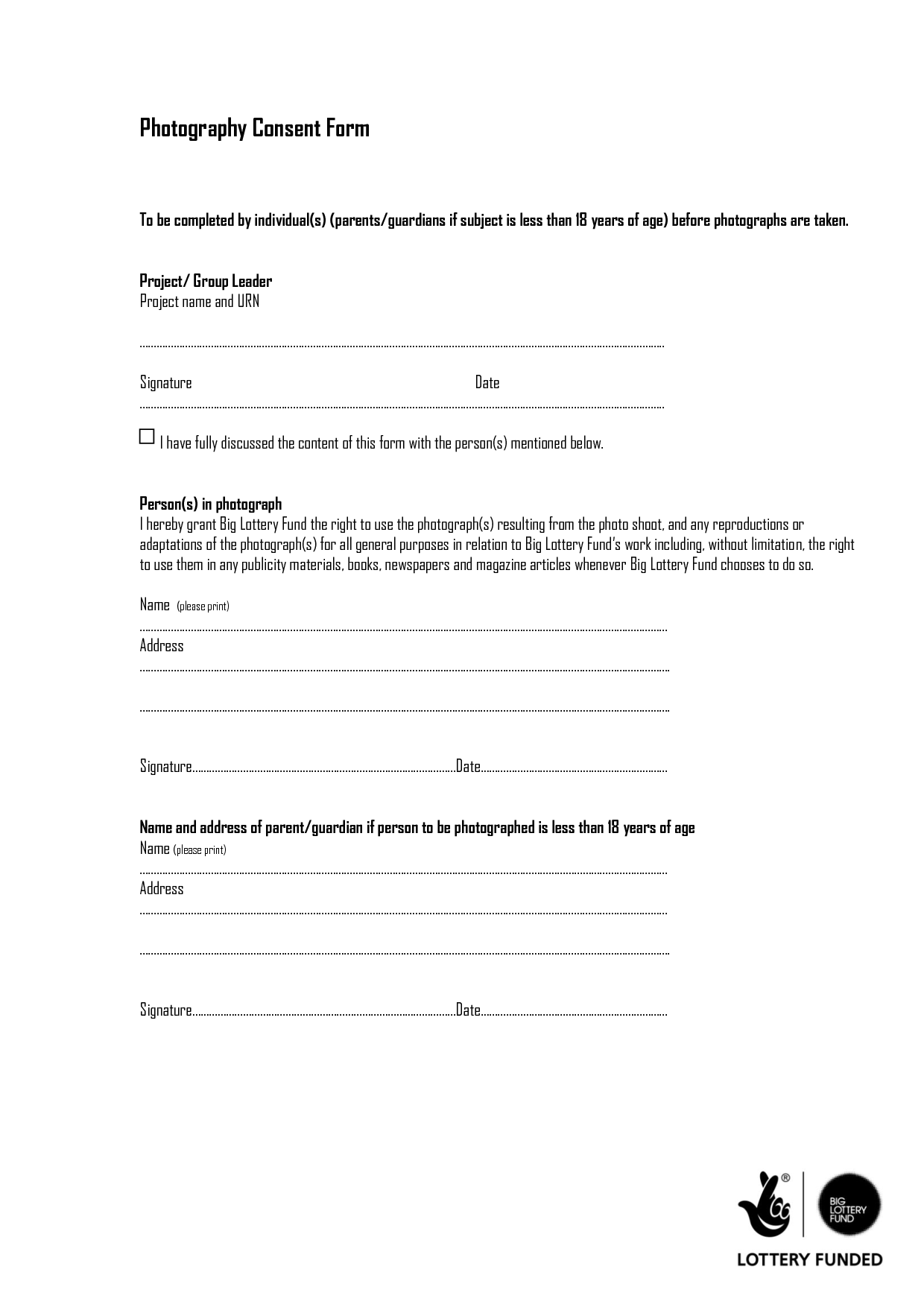 Photography Consent Form  Doc By DfhrfFcg  Photography