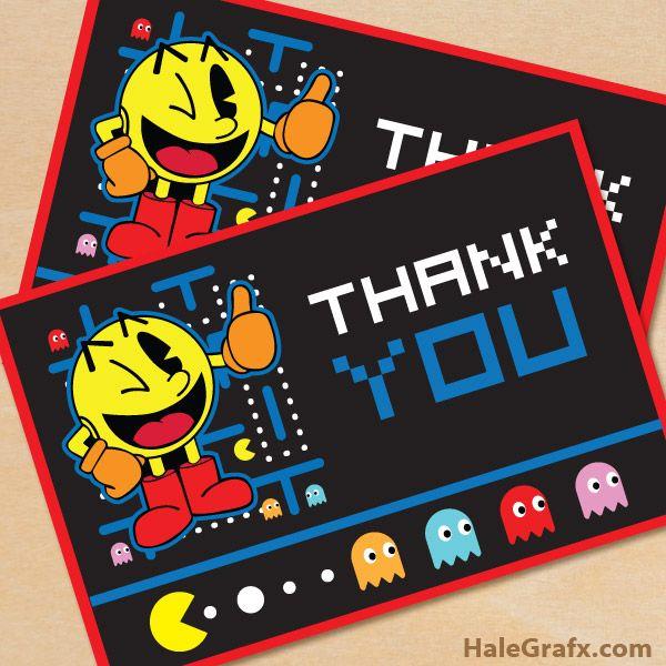 Free printable Pac-man thank you card | Pac-man
