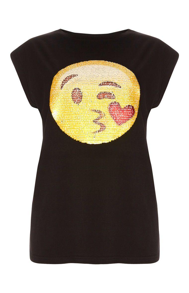 Primark Ladies Emoji Sequin Tshirt Brand new Womens