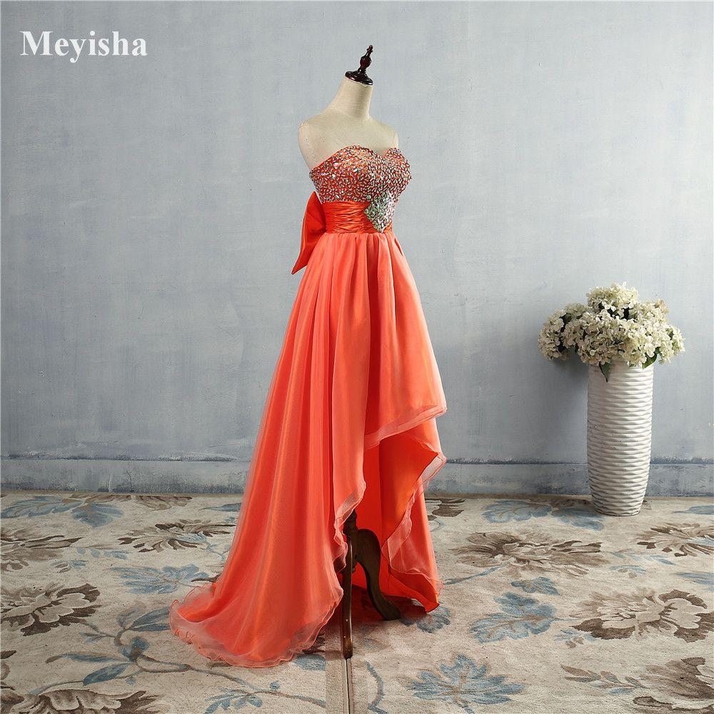 Zj orange blue crystal front short back long evening dresses