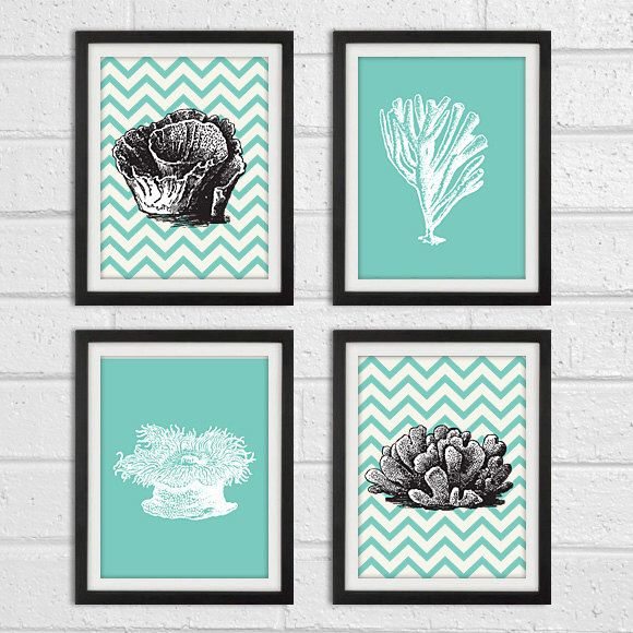 Chevron C Series Turquoise And Dark Gray Wall Art Home Decor Set Of 4 8x10 Print