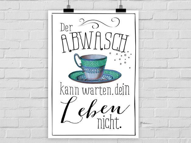 Kunstdruck ABWASCH | Poster, Dawanda und Küche