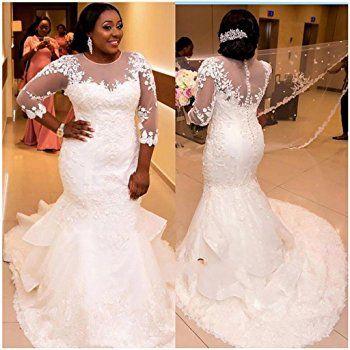 Chady Elegant Plus Size Mermaid Wedding Dress for Bride 2017 Lace ...