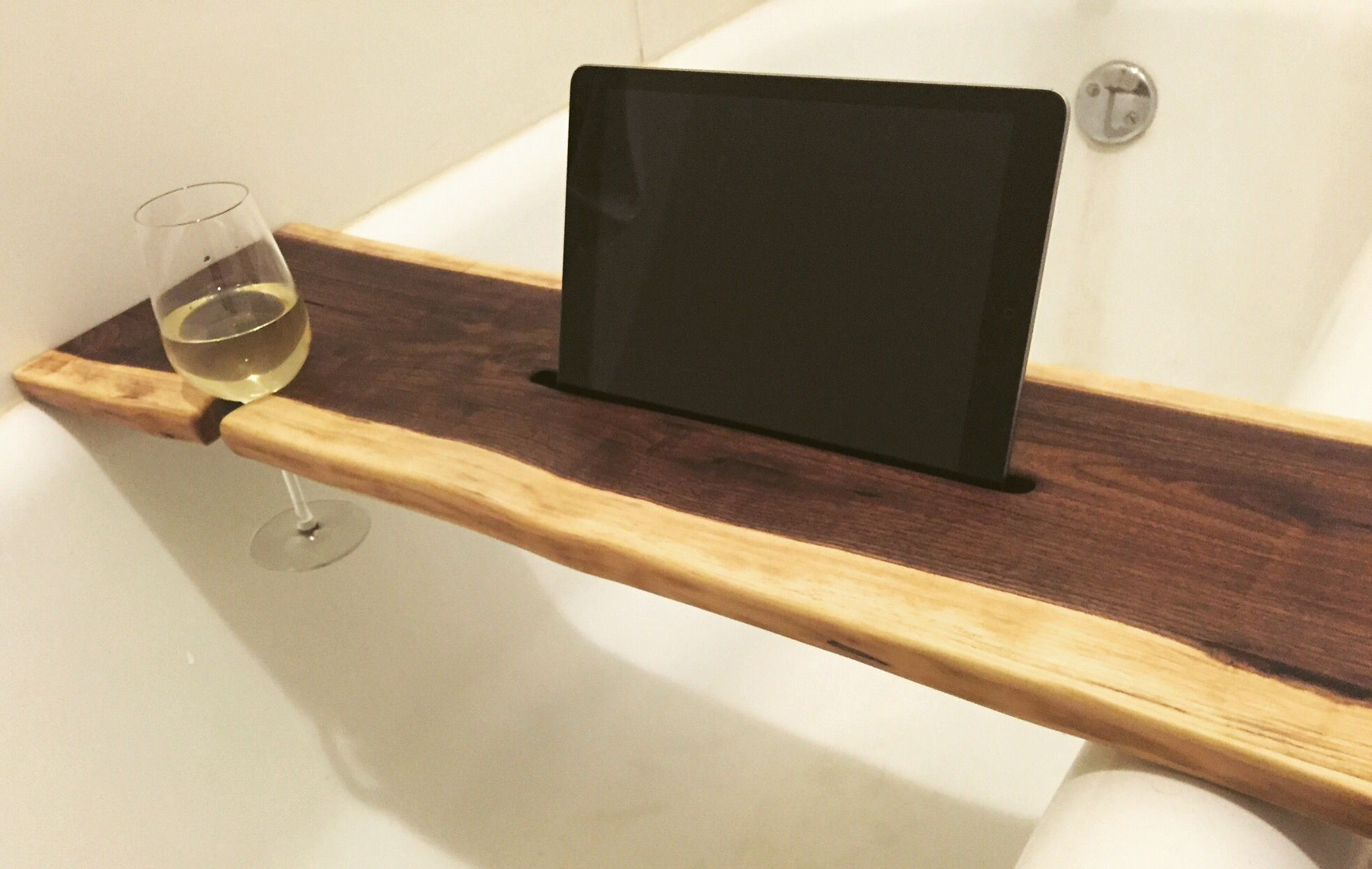 Live edge walnut wood bath tray, bath caddy with tablet, iPad holder ...