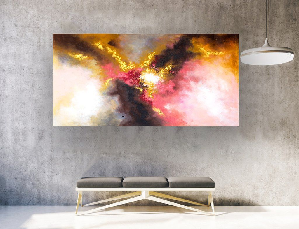 Extra Large Abstract Painting On Canvas Panaromic Wide La0587b