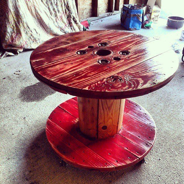 Old Wire Spool 4 Casters Some Sanding Paint And Clear Coat And