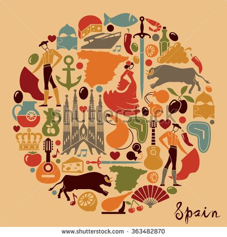 Stock Vector Traditional Symbols Of Spain 363482870g 450470
