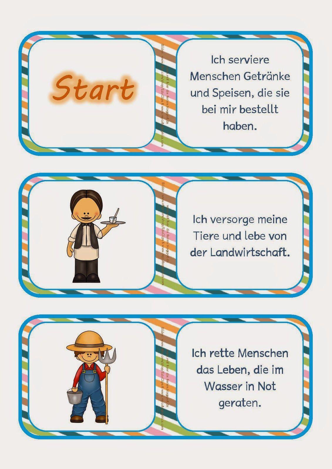 Deutsch, Lesedomino, Domino Spiel, Thema Berufe, Fragen und Rätsel ...