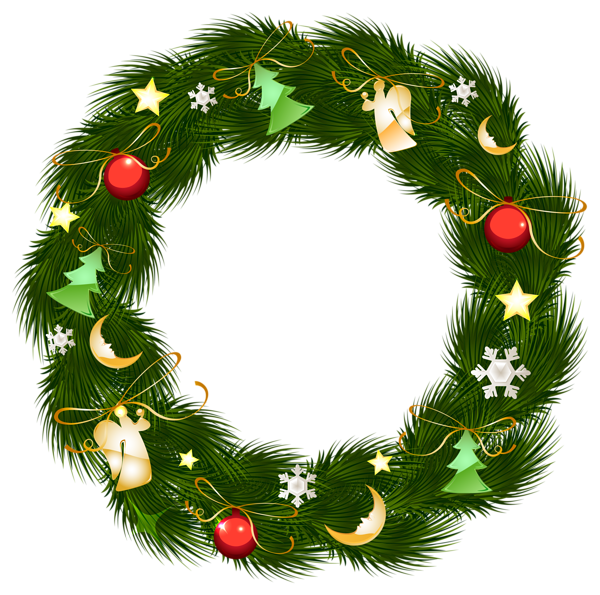 Christmas Wreath With Ornaments Clipart Png Image Christmas Card Crafts Christmas Card Illustration Christmas Drawing