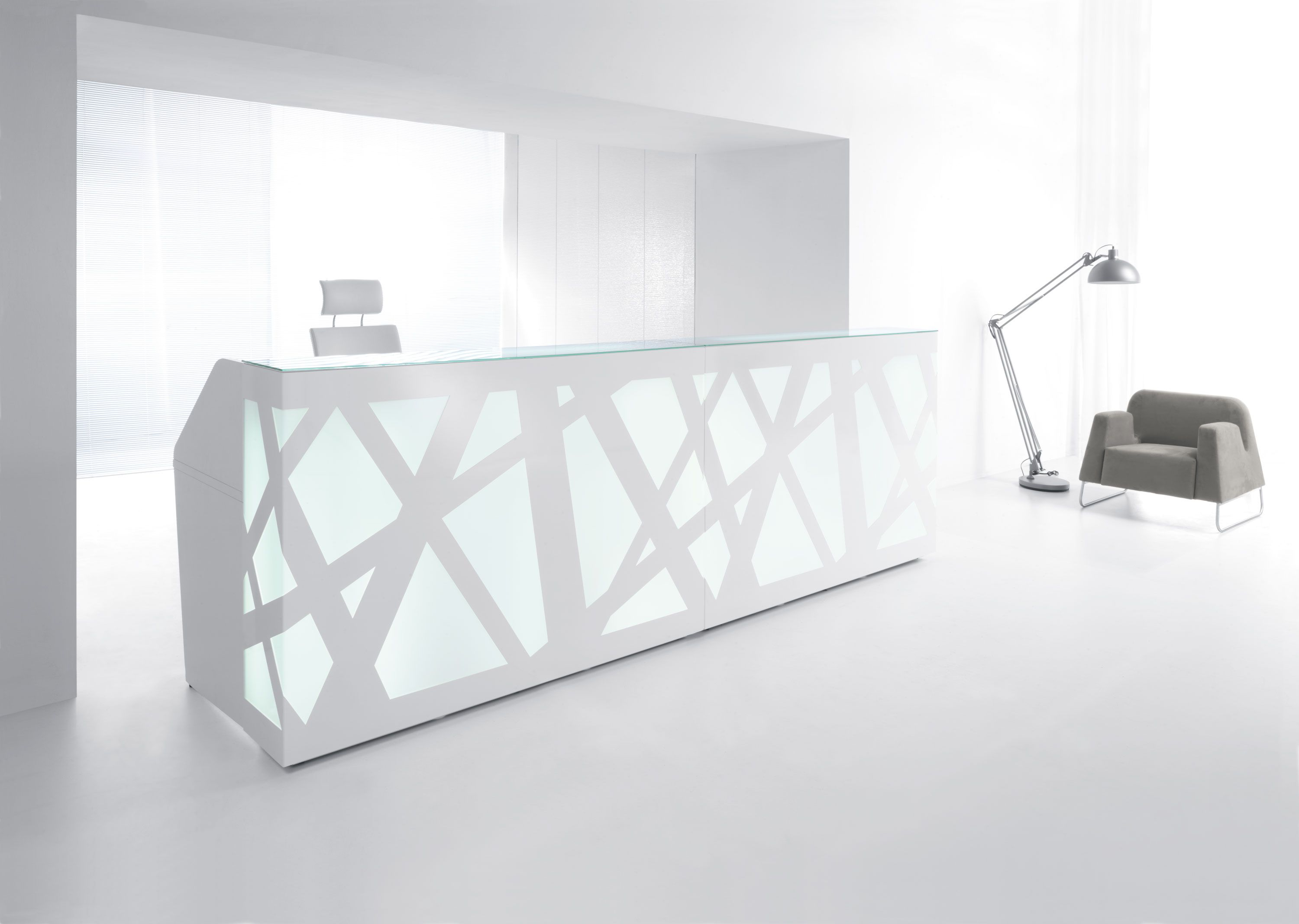 The Zig Zag Reception Desk In White By MMD.