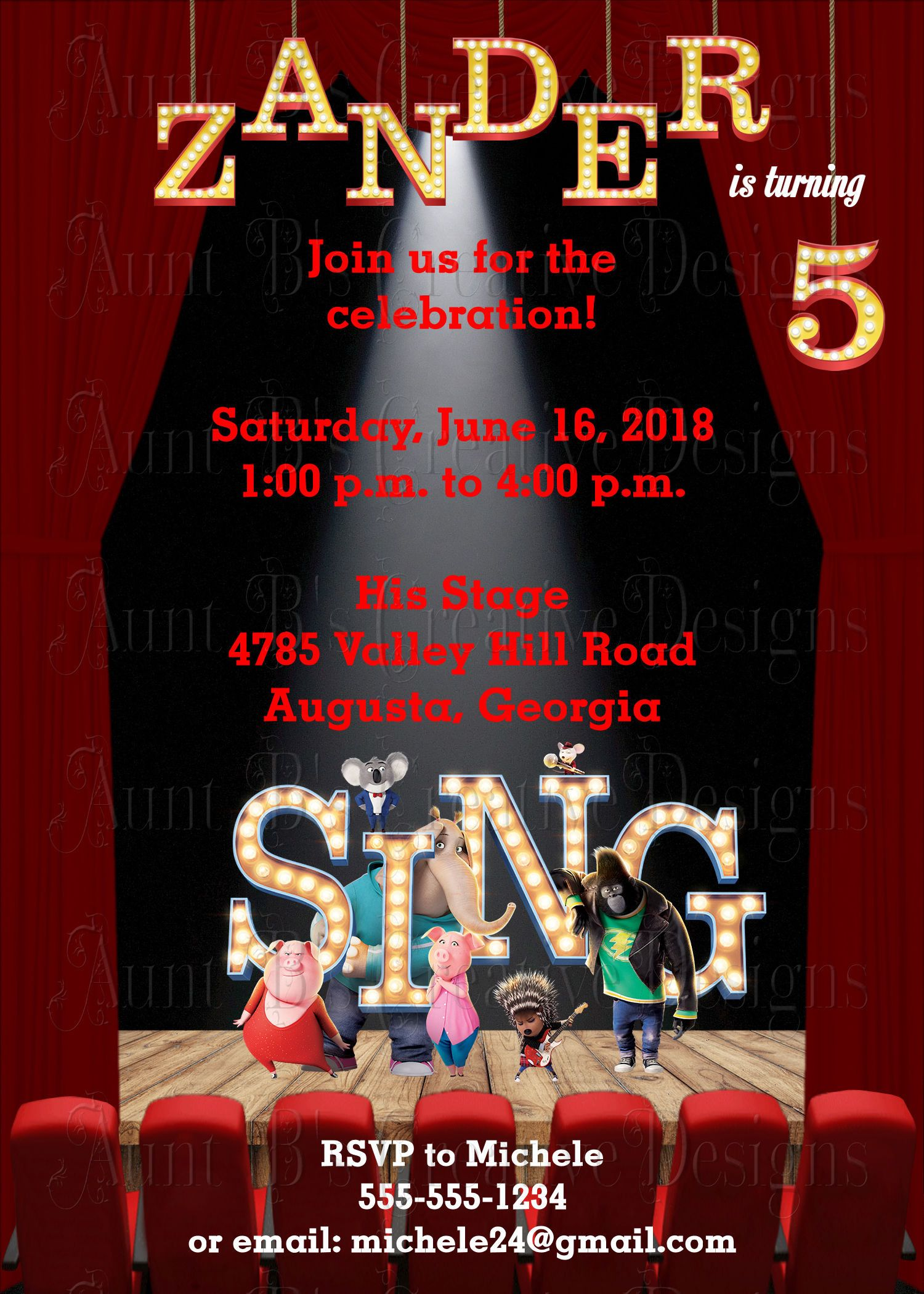 Sing Birthday Invitation, The Movie Sing Party Invitation, Sing ...