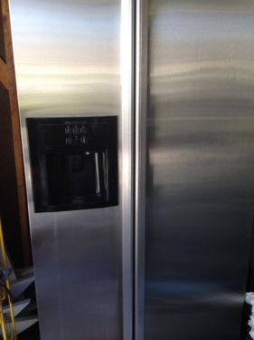 Stainless Steel Jenn-Air Fridge for sale. Measurements are 70 inch tall X 36 inch front wide X 27 Wide Side. 2 Door with Ice & Water Dispenser. Needs some cleaning because it has been unplugged but ot