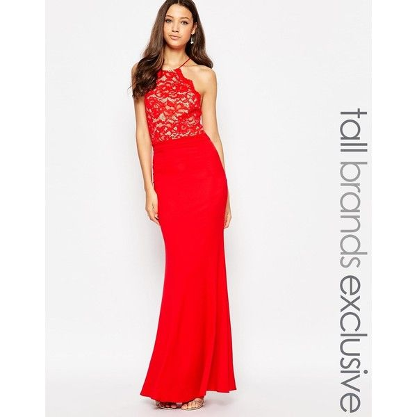Red halter maxi dresses