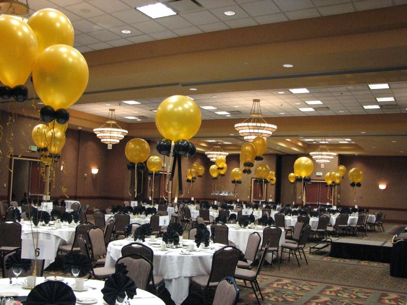 Photo Gold And Black Balloon Decorations For Event Black And