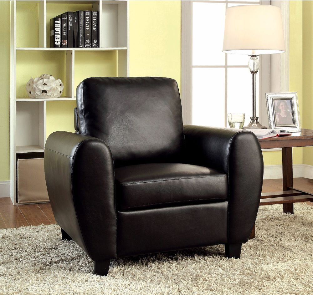 faux leather club chair black living room furniture modern