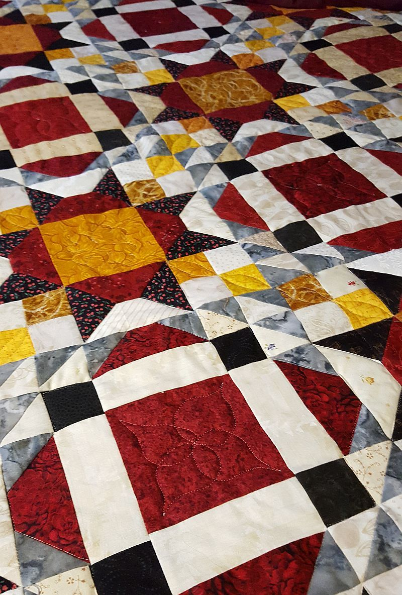 Close-up of the quilting