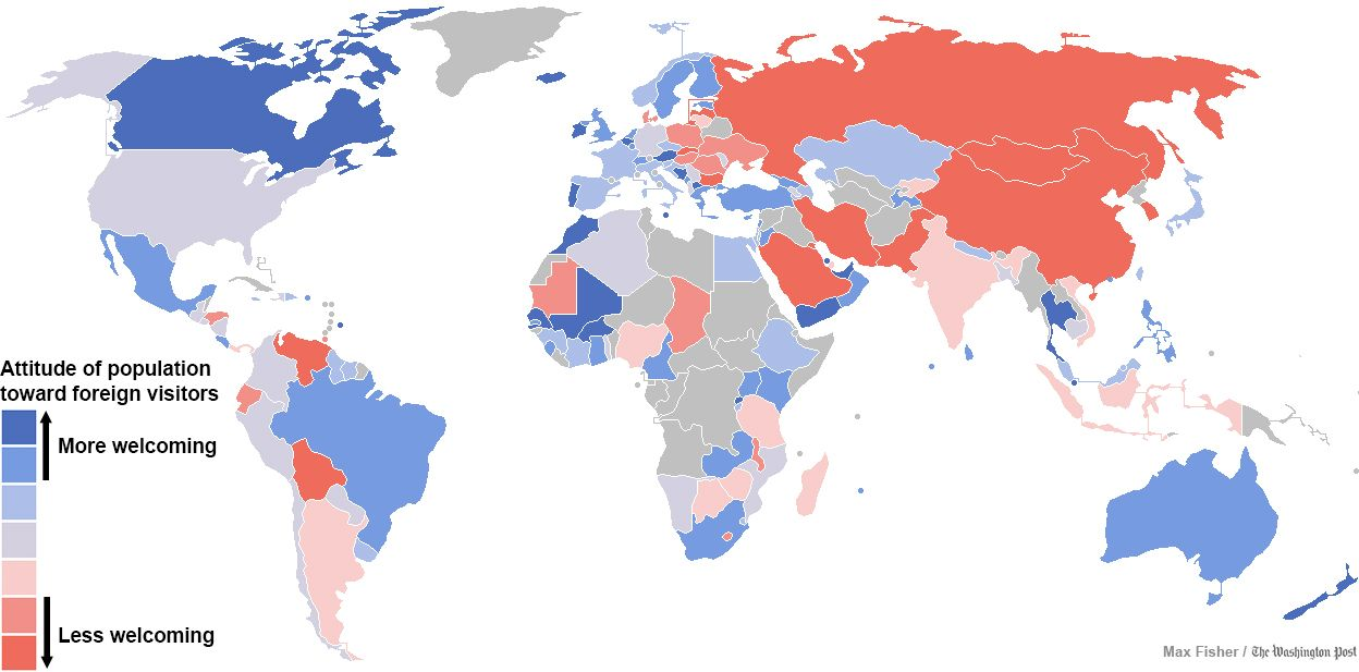 A surprising map of the countries that are most and least welcoming a surprising map of the countries that are most and least welcoming to foreigners gumiabroncs Image collections