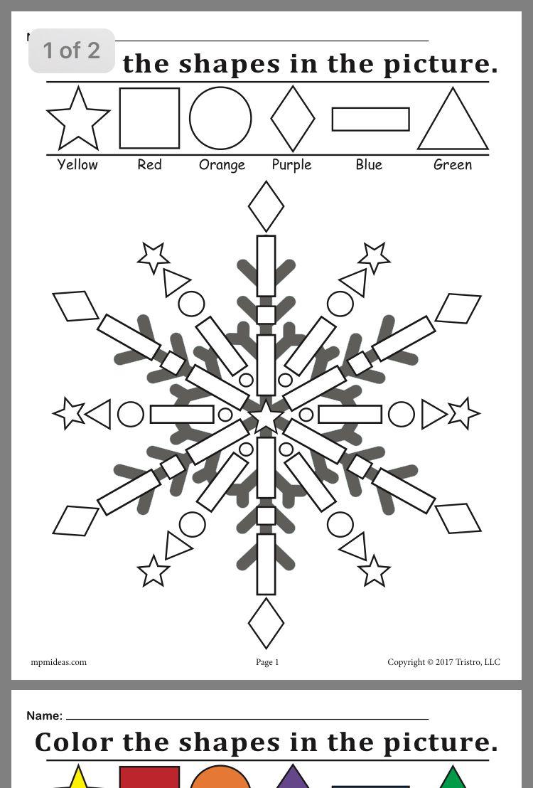 Color The Shape Snowflake Kindergarten Worksheets Winter Theme Preschool Kindergarten [ 1108 x 750 Pixel ]