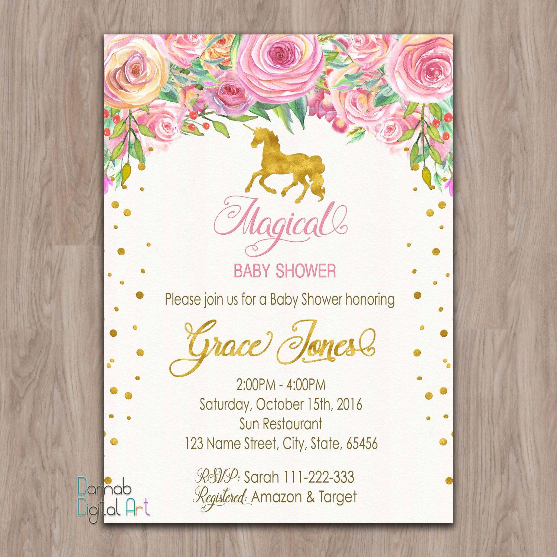 unicorn baby shower invitation, unicorn invitation, pink gold baby, Baby shower invitations