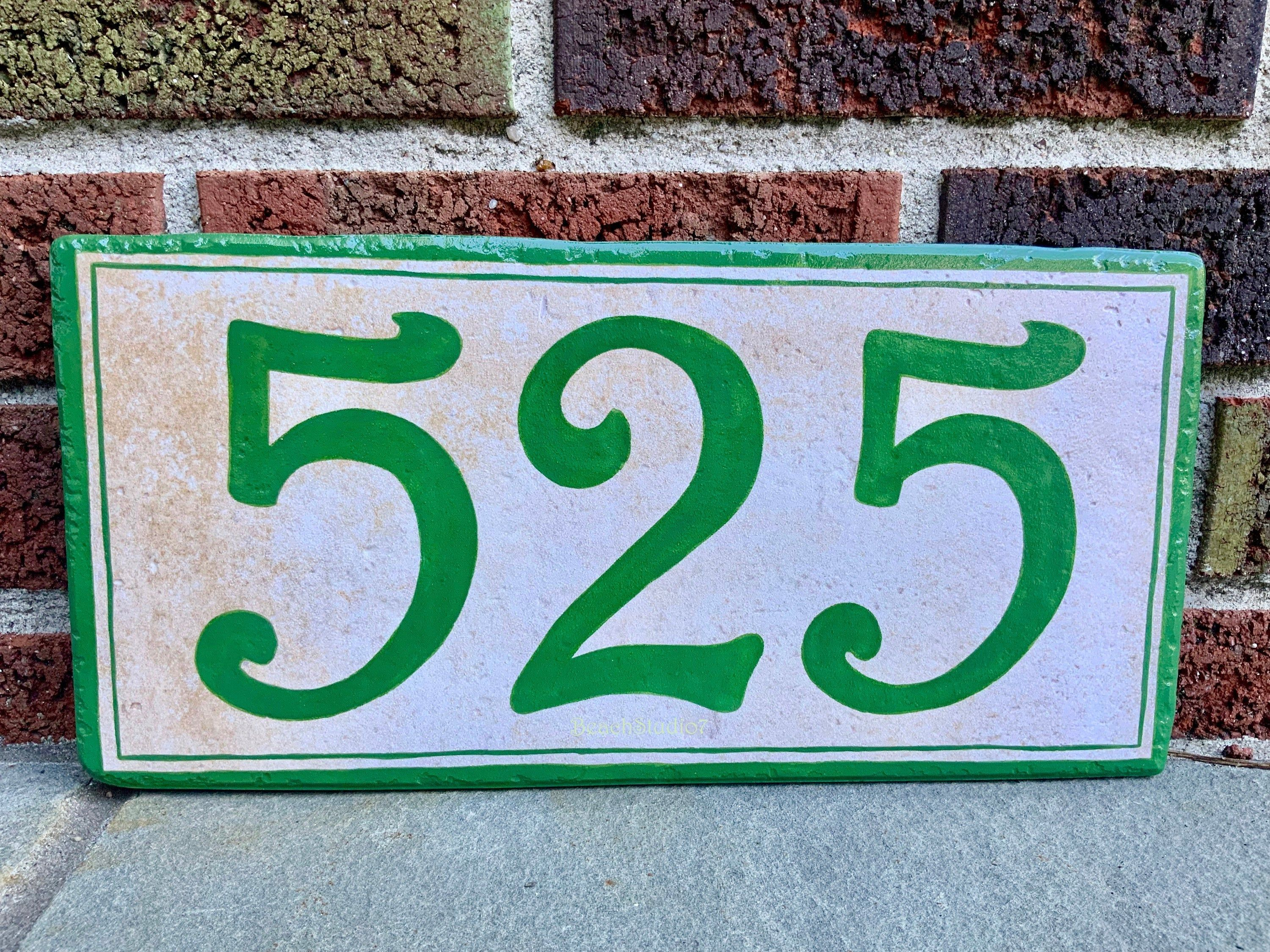 Green Custom House Number Sign Hand Painted Personalized Sign