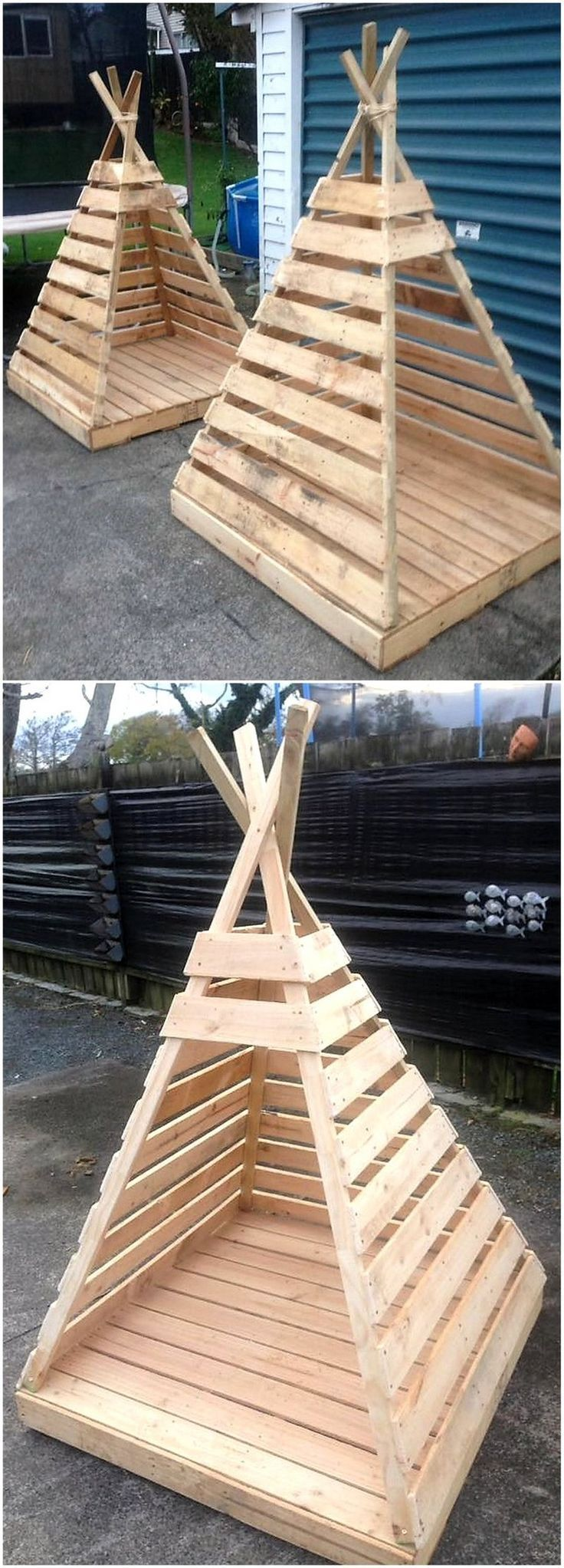 Paletten Kinderspielhaus #WoodWorking - Diyprojectgardens.club #palettengarten