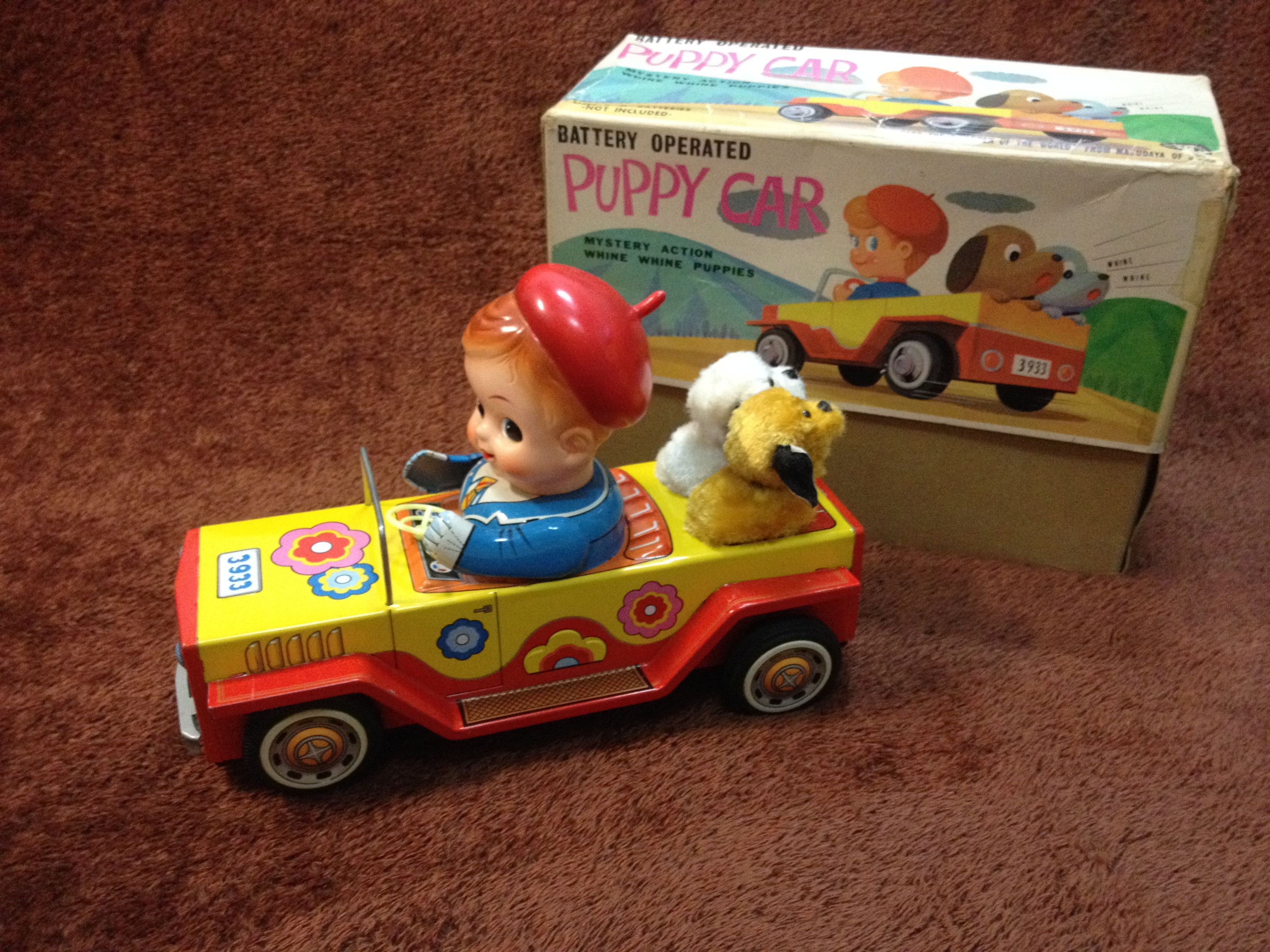 Toys car battery  Masudaya Puppy Car Battery Operated Tin Toy from s  Old Toys